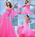 Zpd-039 sexy novia de abalorios desnuda sin respaldo posterior de cristal de color rosa a largo de gasa vestido de fiesta