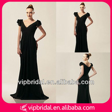 Elegant black chiffon cap sleeve V-neck wedding and evening dress