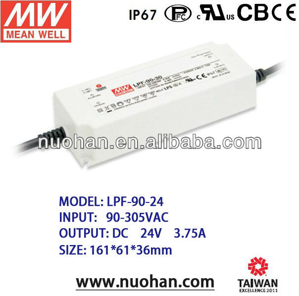 Mean Well 90W 24v Single Output Switching Power Supply led driver 90w