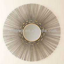 Unique sun round decorative metal wall mirror art