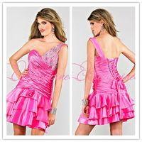 one shoulder pink beading dresses prom dress cocktail dresses