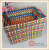 Set of 6 PP strap rectangle handmade woven colored storage baskets