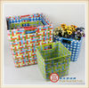 Set of 6 strap square handmade PP woven storage basket