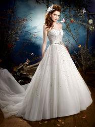 Suzhou Wedding Dress A-line Sweetheart Chapel Train Full Purely Handmade Beaded Wedding Dress k54-6