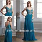 Ink Blue V-neck Spaghetti Strap Beaded Bodice Long Chiffon Prom Dress Shop