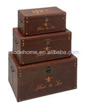 2013 New High Quality Good Price Cheap Set3 Paris Fleur De Lis Brown Faux Leather Trunk Wood Leather Storage Trunk