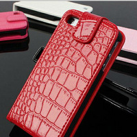 Crocodile pu leather flip case for iphone5 flip phone case for 2014 new trendy case