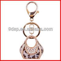 2013 latest colorful rhinestone 18K metal leopard bag keychain for bags