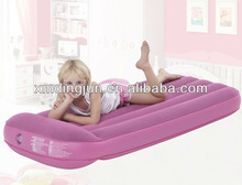 Flocked lamilated PVC air bed with pillow,pink air bed with pillow,Customized air bed manufaturer