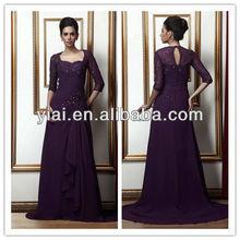 2013 Fashion Chiffon Purple Evening Dress With Long Sleeve LL25