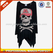 Wholesale big skull stylish women long t shirt OEM(YCT-B0108)