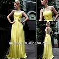 elegante pescoço scoop semi amarelo vestido de noite formal 2014