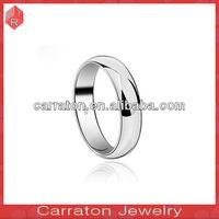925 logo printed 2013 platinum plated plain silver men's band ring