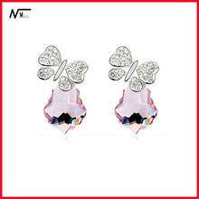 Free Shipping Alloy Butterfly Crystal Tears Earrings(MT13030022)