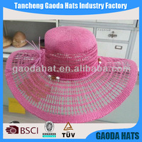2014 New style red color wide brim paper hats