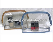 Bath & Body Works Makeup Cosmetic Bag Home or Travel CLEAR w/Blue or Brown NEW
