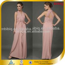 Women Latest Hot Sale Pink Halter Crossover Formal Chiffon Evening Frock Dress
