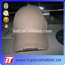 promotion custom led hats shine flash cotton baseball black cap