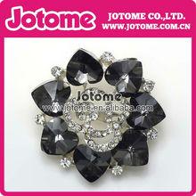 black and white heart&flower shape rhinestone brooch for cloth