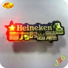 Advertising WINE brand custome logo glow LED badge pin