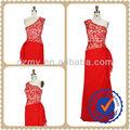 Rojo chino clásico uno- hombro chifón diseñopiso longitud vestido de noche