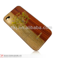 Wood cell phone case cover for iphone 4 4s case, with gold luxury sign