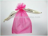 cheap organza bag for gifts packaging ,logo ribbon