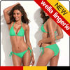 Wella Lingerie The Shape of Sexy Green Simply Stunning Triangle Top Bikini Set with Golden Hardware Rings