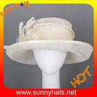 100%sinamay white wedding church hats for lady