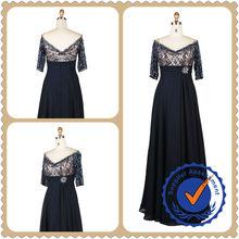 Elegant Dark Blue Straight Chiffon High Waist Beaded V-Neck Short Sleeves Evening Dress