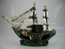 Resin Artificial pirate wreckedship ornaments for Aquarium Fish Tank