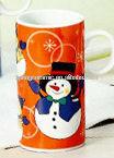 snowman ceramic tall coffee mug with circle handle