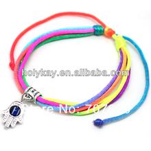 Hamsa bracelet,Handmade colorful rope string bracelet with Hamsa marks,silver alloy