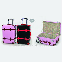 Pink Leather Retro Luggage