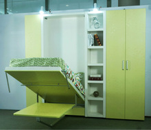 Folding wall bed, Single vertical folding bed with dining table