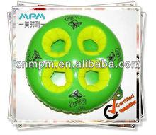 4 holes beverage holder, Inflatable beverage holder with green color, round inflatabl can holder