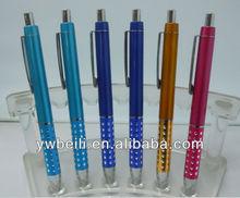 aluminium multicolor promotional metal ball pen(yiwu wholesale),Beautiful diamond click ball pen
