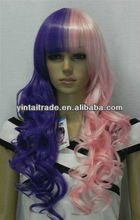 2013 HOT beautiful BlingBling cheap New Long Half Pink Half Purple Wavy synthetic cosplay Wig