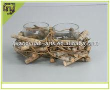 materiale naturale di corteccia di betulla candela di vetro titolare