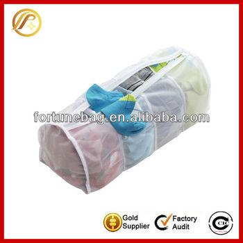 White mesh wash bag with zipper