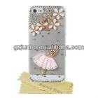 Bling Clear Handmade 3D Flower & Pink Skirt Girl Crystal Diamond Rhinestone Skin Case Cover For iPhone 5 5g