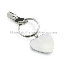 heart shap metal keychain clip