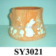 Carving rabbit animal terracotta planter pot