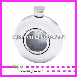 5oz round hip flask with glass window