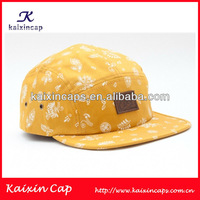 Fashion camp hat floral digital/silk screen printing custom designs 5 panel hat&cap camp cap with leather patch