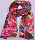 wholesale china ladies 100% silk with digital print scarf fashion