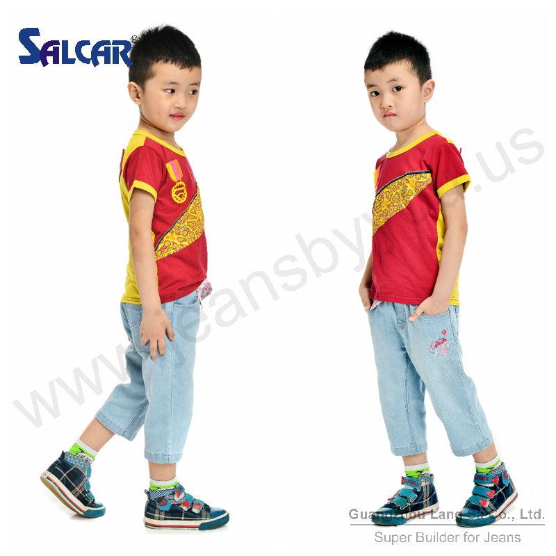 Venta al por mayor Guangzhou Yalang niños prendas de HK del diseñador Denim Jeans pantalones Naughty Boys de calidad superior d Jeans pantalones ( LSCPB7001-B1 )