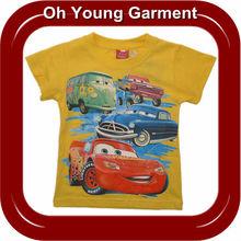 kids' boys wholesale cheap summer blank t shirts, short sleeve plain printed cartoon car t shirt for children