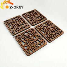Bamboo Alphabet Coasters wood laser carving mat decoration