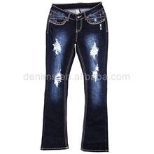 711231 estilo de última moda estrecho diseño de fondo arrancado de mezclilla pantalones vaqueros para mujer sexy